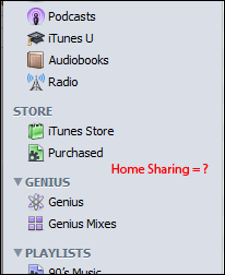 iTunes Home Sharing bug